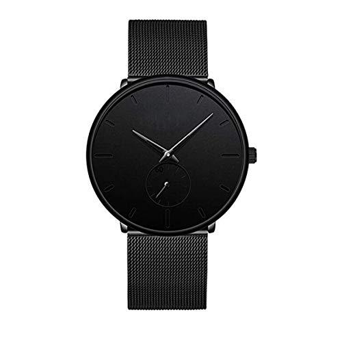 637f54612ba4 Reloj Impermeable para Hombre de Acero Inoxidable de Color Negro con un  diseño Ultra-Delgado y Casual. - Mejores Precios