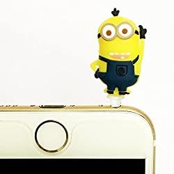 ArtzFolio Laughing Minion : Universal 3.5 mm Anti Dust Earphone Headphone Audio Jack Plug for all brands of mobile phones, tablets, laptops, iPads & iPods : BEST DESIGNER Stylish & Cute Accessories