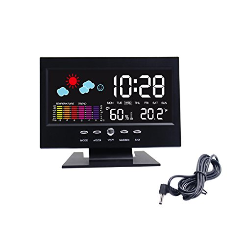 Hippih-Electronic-Table-Clock-Digital-LCD-Snooze-Alarm-Clock-Bedside-Desk-Clock-with-Weather-Station-LED-Backlight-Colour-Icon-Indoor-Temperature-Humidity-Day-Date-Time-Display-Black