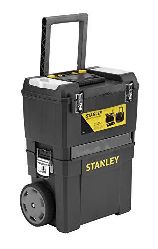 Stanley Rollende Werkstatt / Werkzeugwagen (47.3×30.2×62.7cm, zwei seperat verwendbare Werkzeugboxen, robuster Kunststoff, zwei Einheiten, Metallschließen, Organizer) 1-93-968 - 5