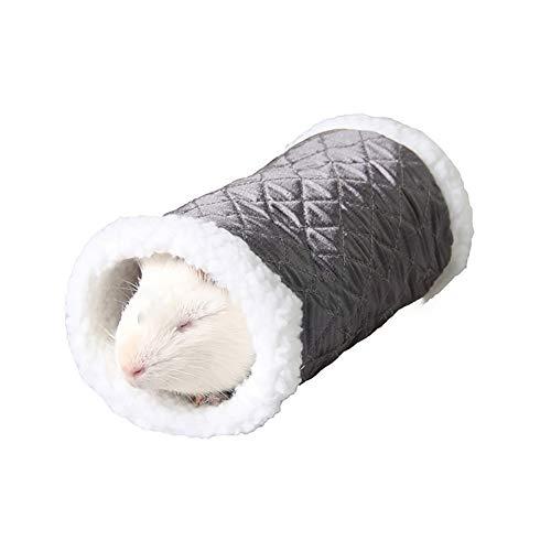 Naisicatar Kleintier Tier Tunnel Spielzeug-Winter-warmer Fleece-Schlauch Hideout Bett spielt Tunnel für Hamster/Gerbil Ratte (Schwarz) Geschenk für den Winter