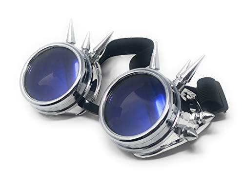Ultra Silber mit Blauen Linsen Steampunk Brille Gläsern Cyber Viktorianischer Punk Schweißen Cosplay Goth Round Spike Vintage Rave Neuhei
