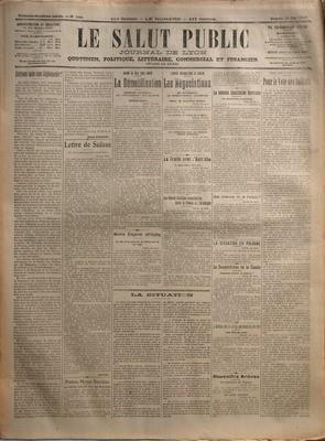 SALUT PUBLIC (LE) N? 144 du 24-05-1919 AURIONS-NOUS UNE DIPLOMATIE PAR BENOIT FAUGIER - LETTRE DE SUISSE PAR GALLUS - PETITES NOTES SOCIALES - QUAND LA PAIX SERA SIGNEE - LA DEMOBILISATION - COMMENT S'OPERERA LE LICENCIEMENT DES CLASSES - NOTRE EMPIRE AFRICAIN - LA SITUATION - L'OUVRE DIPLOMATIQUE DE DEMAIN - LES NEGOCIATIONS - EN ATTENDANT LE CONSENTEMENT ALLEMAND - LE TRAITE AVEC L'AUTRICHE - LES FUTURES RELATIONS COMMERCIALES ENTRE LA FRANCE ET L'ALLEMAGNE - LA NOUVELLE CONSTITUTION BAVARO...