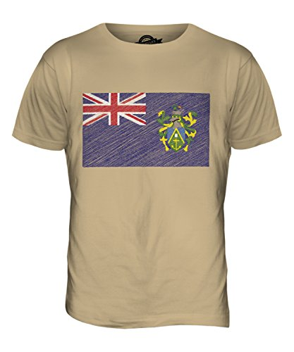 CandyMix Pitcairninseln Kritzelte Flagge Herren T Shirt Sand