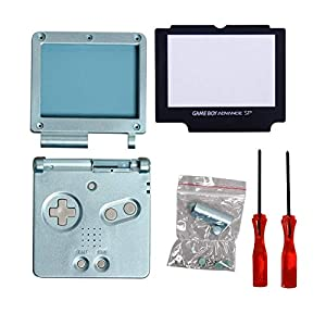 Timorn Full Gehäuse Shell Fall Deckel + Screen Protector Teil + Tri-Wing + Kreuz Schraubendreher Reparatur für Nintendo Gameboy Advance GBA SP (Blau Pack)