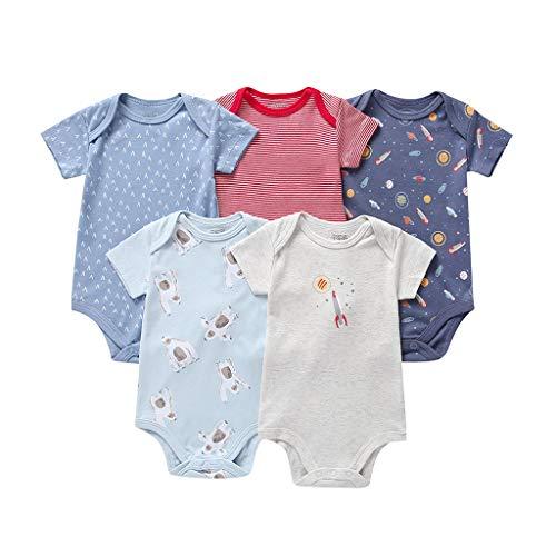 Livoral Baby Madchen Kleid 5pc Neugeborenes Baby Boy Bear Rocket Stripe Strampler Bodysuit Sunsuit(Mehrfarbig,24M)