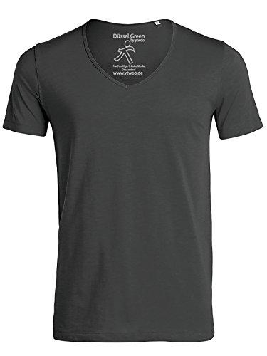 YTWOO Herren Slub T-Shirt mit Weitem V-Ausschnitt Aus 100% Bio-Baumwolle, V-Neck Tiefer Ausschnitt, Bio Kurzarm V Tshirt Baumwolle (Bio) Anthrazit