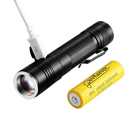 PovKeever Mini LED linterna recargable USB  900 Lumen CREE XPE2 R5 linterna 5 modo Pocket linterna 18650 batería incluida para el trabajo / Senderismo / Camping