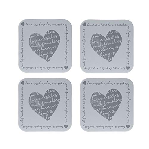 Coasters Set of 4 Heart Design Place Mats Drinks Tea Coffee Cork Home Kitchen