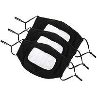 Paquete de 3 bandanas reutilizables y lavables de algodón para la cara con ventana transparente y almohadillas ajustables para hombres y mujeres, sin niebla