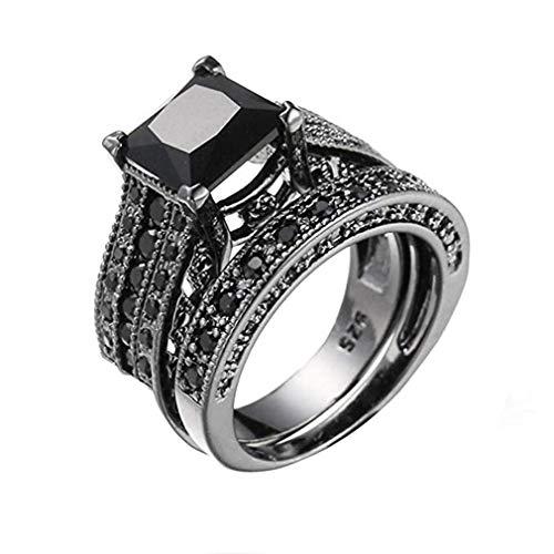 Scpink 2-in-1 vintage in zircone micro intarsiato nero anello moda hip-hop ossidiana anello (9, nero)