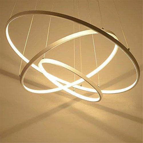 3-licht-acryl (Moderne Pendelleuchten für Wohnzimmer Esszimmer 3/2/1 Kreis Ringe acryl Aluminiumgehäuse LED-Pendelleuchte leuchten, Warmes Licht, 3 Ringe D 40+60+80cm)