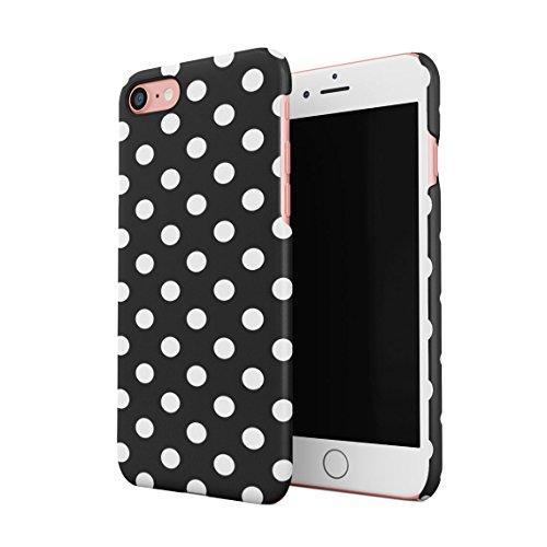 Black Polka Dots Pattern Dünne Rückschale aus Hartplastik für iPhone 7 & iPhone 8 Handy Hülle Schutzhülle Slim Fit Case Cover Hearts Hard Case, Snap