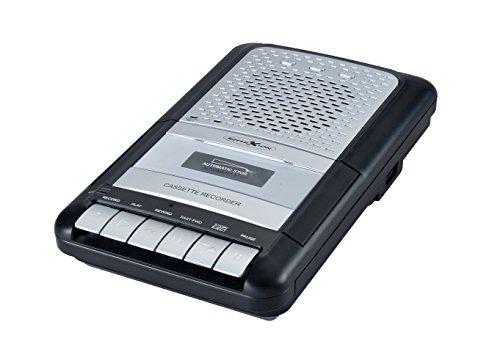 Reflexion CCR8012 Kassettenrecorder Retro, UKW / MW Radio, tragbar, eingebautes Mikrofon und Lautsprecher, als Diktiergerät einsetzbar, USB, AUX-In, Kopfhöreranschluss, Mikrofon mit Standfuß, schwarz / silber