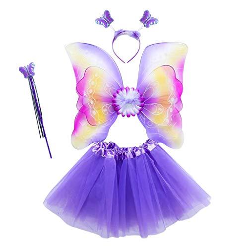ECMQS 4 Stück Fee Kostüm Kinder, Tutu Und Flügel Set Schmetterlingsflügel Fee Prinzessin Kostüm Für Party Karneval Fasching Fastnacht Halloween Kinder (Mädchen Tinkerbell Prinzessin Kostüm)