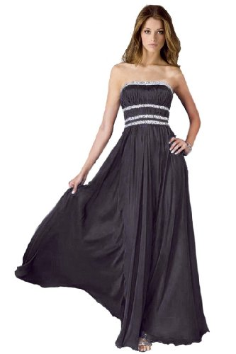 Lemandy robe de soirée longue en mousseline Noir