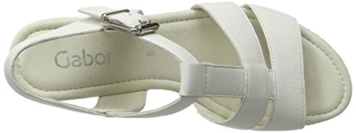 Gabor Fashion, Sandales Bout Ouvert Femme Blanc (weiss weiss/sand)