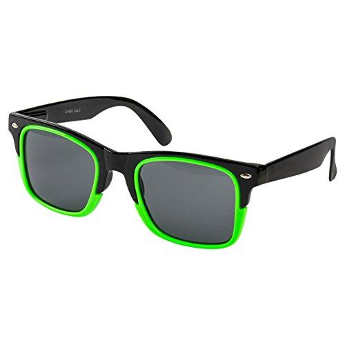 Ciffre EL-Sunprotect® Nerdbrille Brille Nerd Sonnenbrille Hornbrille Neon Grün Black