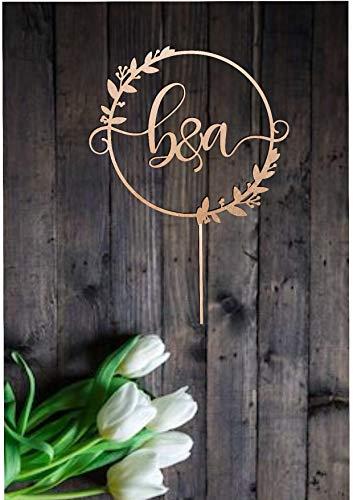 Andrea1Oliver Cake Topper f¨¹r Hochzeit erste rustikale Monogramm personalisierte Brief Cake Topper Herr und Frau Strand Hochzeitstorte Dekoration Gold Silber (Brief E-hochzeitstorte Topper)