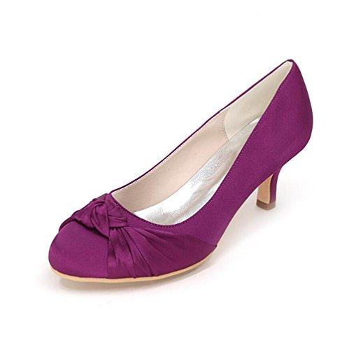 Ei&iLI Satin chaussures de mariage Women 's avec une robe de demoiselle d'honneur du parti à mi-talon Chaussures EU35-EU42 Rose
