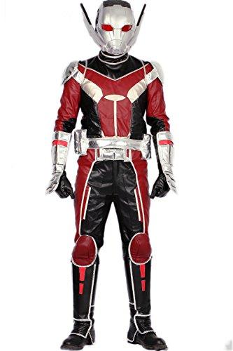 Pandacos Ant-Man Kostüm Herren Cosplay Costume Deluxe Kostüm Set mit Maske aus Leder für Halloween, Karneval und ()