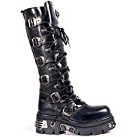 Newrock New Rock 272 Metallic Black Goth Knee High Zip Boot Leather Buckle Boots