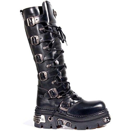 NEWROCK New Rock 272 metallici gotico nero stivali unisex Buckle Top Stivali Zip pelle 40