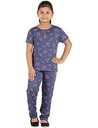 FICTIF Kid Girl's Blue Melange Color Top & Pyjama Set