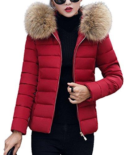 Slim Down Jacket, Elegant Winterjacke Hooded Steppjacke Kunstpelz Kapuzen Parka Daunenjacke Einfarbig Mantel Fellkapuze Warmen Outerwear Fleecejacket ()