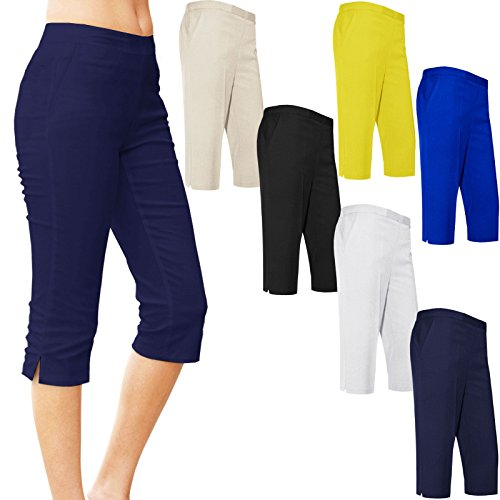 Unbranded Womens Ladies Half Elasticated 3/4 Shorts Capri Cropped Trousers Pockets Stretch Summer Office Formal Classic Pants UK 10-24