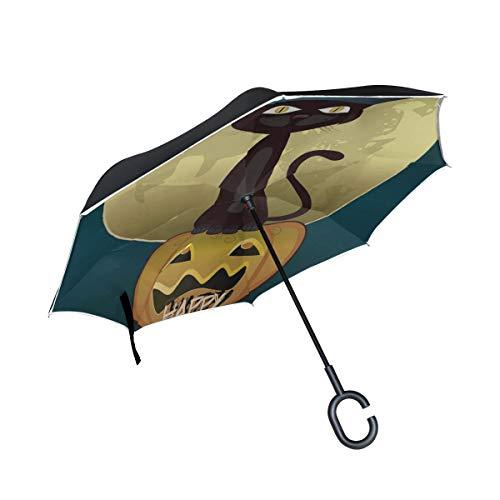 Schwarze Katzen Hexen für Halloween Doppelschicht die Anti Uv Schutz wasserdicht winddichtes gerades Auto Golf umgekehrtes umgekehrtes Regenschirm Stand mit C förmigem Griff für Auto Regen faltet