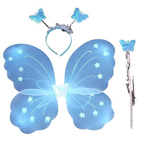 Kind Kostüm Schmetterlingsflügel - LUOEM Kinder Mädchen Fee Kostüme Prinzessin Schmetterlingsflügel Stirnband Zauberstab Party Kostüm 3-teiliges Set (blau)