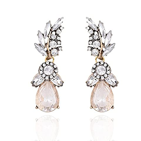 Ladies Europe Et Les États-Unis Retro Gem Jewel Earrings Earrings,White-L