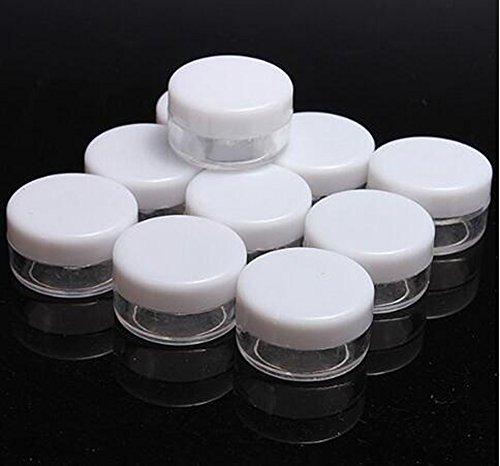5 G/5 ml vide en plastique Cosmétique Pots Pot Coque à nourriture X 50 clair avec couvercle Blanc pour maquillage Paillettes Nail Art Poudre Trinkets Bijoux Lip-balm