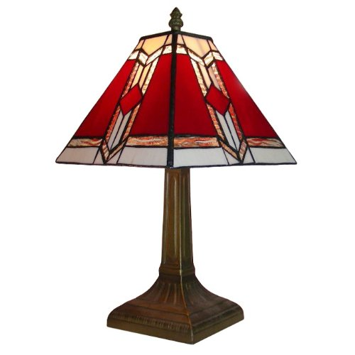 Tiffany style lamp shade amazon tiffany style bronze base and red and white stained glass designer aztec table lamp mozeypictures Images
