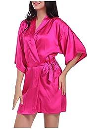 Morbuy Lencería Kimono Batas de casa con Escote de Seda Satén Camisón Ropa de Dormir Cama