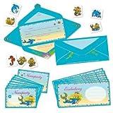 Lutz Mauder 23005 - Falzkarte Kindergeburtstags-Einladungs-Set Meerjungfrau / Nixe