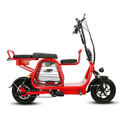JH Bici elettrica, Città della Bicicletta 400W Motore Elettrico Bike 30-60Km Portatile Padre-Figlio Biciclette 12 Pollici,Rosso,8amps
