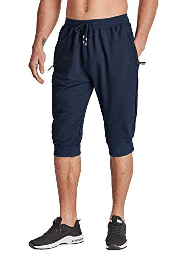KEFITEVD Herren Shorts Sport 3/4 Freizeit Hose Slim Fit Kurz Sommerhose Capri Trainingshose Sweatpants Frühling Eng Beinabschluss Jogginghose Dunkelblau 52/L (Etikett: 4XL) -