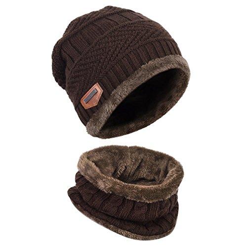 GANA Strickmütze 2-in-1 Warm Wintermütze Winter Hat Winterschal Beanie Mütze Hüte Skimütze und Schal mit Fleecefutter(Koffee) (Kinder-circle-schal)