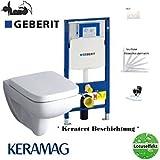 Geberit Duofix Vorwandelement, KERAMAG Renova Nr. 1 Plan Tiefspül WC Komplettset + Deckel Absenkautomatik, Keratect Beschichtung, Schallschutz, Drückerplatte weiss