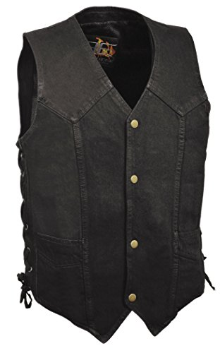 Biker's Edge Men's Side Lace Basic Denim Vest (Black, X-Large) Snap Front Denim