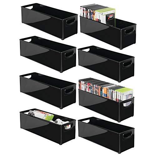 Home-organisation Center (mDesign Stapelbarer Haushalts-Aufbewahrungsbehälter, Griff für Medienkonsolen, Schränke, Schränke - für DVDs, Videospiele, Gaming-Zubehör, Headsets - 8 Stück - Schwarz)