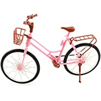 SuxiDi Fashion Pink Plastic Detachable Bicycle with Basket And Rotatable Wheels for Barbie Dolls