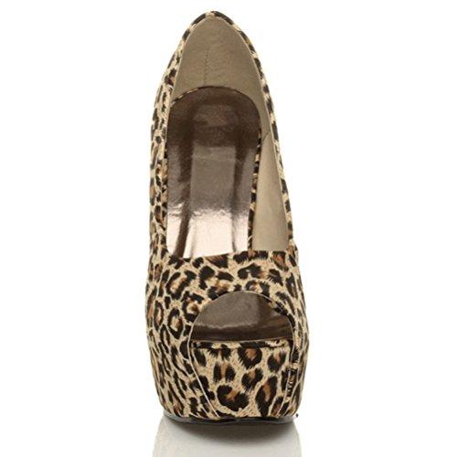 Damen Plateausohle Pumps Stöckelschuhe Peep Toe Party Arbeit Schuhe Größe Braun Leopard