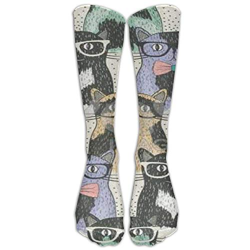 Not afraid Speckled Cat with Glasses Unisex 3D Printed Long Length Socks 50CM