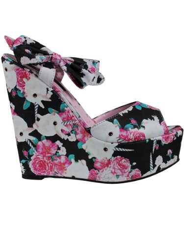 Iron FistBuns and Roses Wedge - Peep-Toe donna , Nero (nero), 40