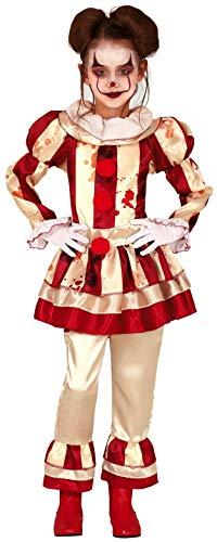 Gruseliges Clowns Kostüm - Fancy Me Kostüm für Mädchen, gestreift, Horror-Clown, Zirkus, blutig, gruselig, Halloween, Kostüm, Outfit, 5-12 Jahre