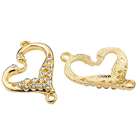 RUBYCA 30pcs Metal Love Heart Connector Beads Crystal Inlay DIY Jewelry Making Bracelet Gold Tone