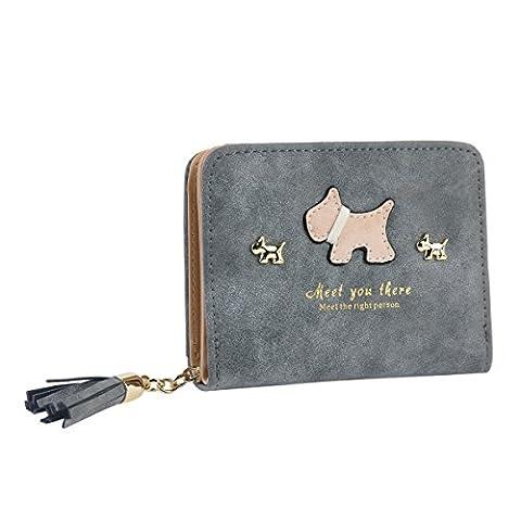 Damara® Damen Hund Aktuell Geldbörse mit Fransenanhänger,Grau